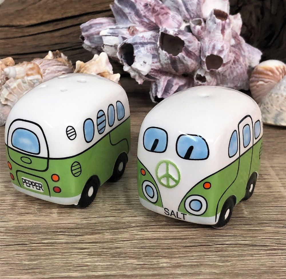 Green Campervan Salt & Pepper Pots Cruet Set